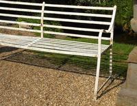 English Regency Wrought Iron Strapwork Garden Bench (3 of 9)