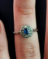 Vintage Sapphire & Diamond Cluster Ring, 18ct White Gold (13 of 13)
