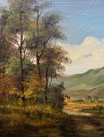 Large Early 20th Century Antique English Autumn Countryside Landscape Oil Painting (7 of 11)