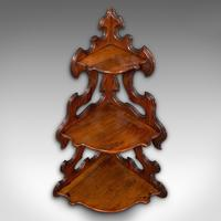 Antique 3 Tier Hanging Whatnot, English, Rosewood, Corner Wall Shelf, Victorian (5 of 12)