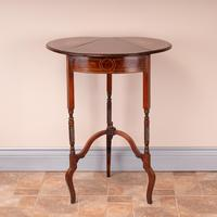 Edwardian Inlaid Rosewood Drop Leaf Occasional Table (10 of 23)