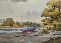 Superb Quality 20th Century Vintage Boats Estuary Seascape Watercolour Painting (3 of 11)