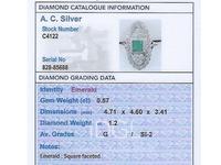 0.57ct Emerald & 1.20ct Diamond, Platinum Ring - Antique c 1920 (6 of 9)