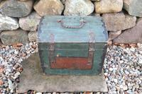 Scandinavian / Swedish 'Folk Art' Small blue-black orginal paint, Hälsingland table chest box 1814 (7 of 25)