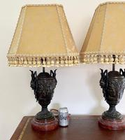 Magnificent Pair of Heavy Bronze Lamps (4 of 11)