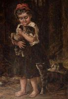 A Charming 19thc Oil on Canvas - Girl with Kittens (2 of 4)