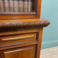 Quality Victorian Walnut Antique Glazed Bookcase on Cupboard (4 of 6)