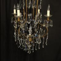 French Gilded Crystal Birdcage 5 Light Antique Chandelier (9 of 10)