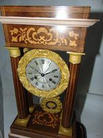 French Rosewwod Portico Clock Complete with Dome & Stand (4 of 9)