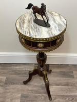 Decorative French Louis Revival Style Marble Top Side Table with Romantic Sèvres Plaques (25 of 38)