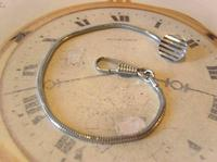Vintage Pocket Watch Chain 1970s Silver Chrome Snake Link With Dog Clip & Button Hole Fob (3 of 7)