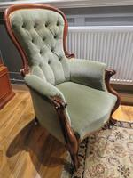 Victorian Walnut Armchair Recently Upholstered 1880 (2 of 7)