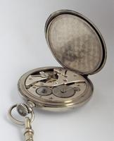 1920s Nickel Pocket Watch & Chain (5 of 6)