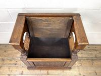 Early 20th Century Antique Carved Oak Hall Seat (8 of 13)