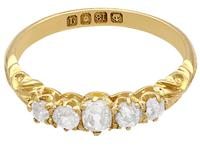 0.66ct Diamond & 18ct Yellow Gold Five Stone Ring - Antique 1911 (3 of 9)