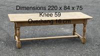 Large French Bleached Oak Farmhouse Table with Extensions (12 of 26)