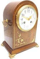 Good Antique French 8-day Arched Top Inlaid Mantel Clock Art Nouveau Mantel Clock (4 of 10)