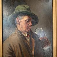 Antique Dutch Oil Painting Portrait of a man drinking ale (7 of 10)