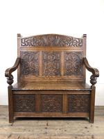 Victorian Carved Oak Settle or Hall Bench (5 of 16)