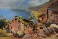 Lovely 19th Century Italian Landscape Watercolour (4 of 4)