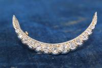 Diamond Crescent Brooch Set with 13 Old Cut Diamonds (6 of 8)