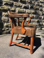 Antique Walnut & Leather Desk Chair (4 of 8)