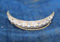 Diamond Crescent Brooch Set with 13 Old Cut Diamonds (8 of 8)