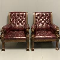 Pair of 19th Century Buttoned Leather Armchairs with Grifins (8 of 11)