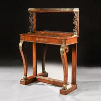 Regency Amboyna & Brass Inlaid Gilt Bronze Mounted Pier Table