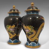 Pair of Antique Decorative Spice Jars, Chinese, Cloisonne, Baluster Urn c.1900 (10 of 12)
