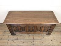 Early 20th Century Antique Carved Oak Blanket Box (4 of 9)