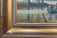 Fishing The River Ouse - Lovely Vintage North Yorkshire Riverscape Oil Painting (9 of 12)