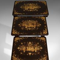 Antique Nest Of Occasional Tables, Oriental, Trio, Japanned, Victorian c.1880 (11 of 12)