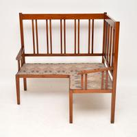 Antique Arts & Crafts Solid Walnut Corner Settee from Liberty of London (2 of 11)