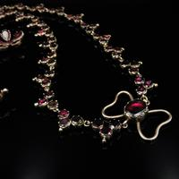 Antique Georgian Flat Cut Garnet 15ct Gold Full Riviere Necklace with Pansy Drops & Cross (4 of 9)
