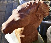 Pair of Large Outdoor Weathered Cast Iron Horse Heads (3 of 7)