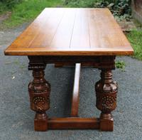 1960s Carved Oak Refectory Table with Set 8 Dining Chairs Green Upholstery (3 of 10)
