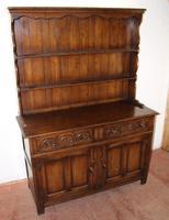 1960s Carved Golden Oak Dresser with Display Rack (2 of 6)
