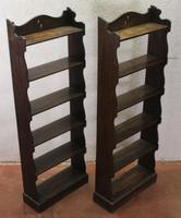 1940's Pair of Small Oak Open Bookshelves with 4 Shelves (2 of 3)
