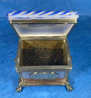 Arts & Crafts Glass and Brass Single Tea Caddy. (3 of 18)