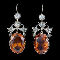 Antique Victorian Citrine Paste Earrings Silver c.1880
