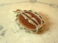 Pocket Watch Chain Fob 1930s Art Deco Silver Chrome & Goldstone Fob Nos (4 of 7)