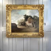 Antique Large Victorian Landscape Oil Painting of a Farm Signed J Howard (9 of 10)