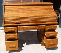 1960s Golden Oak Stype Rolltop Desk - Well Fitted (2 of 5)