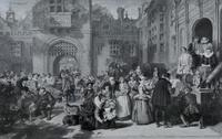 Large 19th Century Engraving. Busy Interior Courtyard Scene (6 of 6)