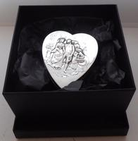 Rare Large 1904 Hallmarked Solid Silver Love Heart Pill Earring Jewellery Box (12 of 13)