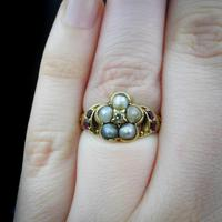 Antique Pearl Ruby & Diamond Cluster 18ct Gold Ring (5 of 9)