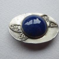 Arts & Crafts Pewter Brooch Dark Blue Stone (2 of 8)