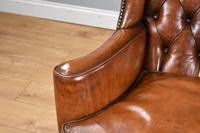 Victorian Hand Dyed Brown Leather Wing Back Armchair (8 of 13)