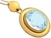 28.12ct Aquamarine & 9ct Yellow Gold Necklace - Antique c.1890 (8 of 9)